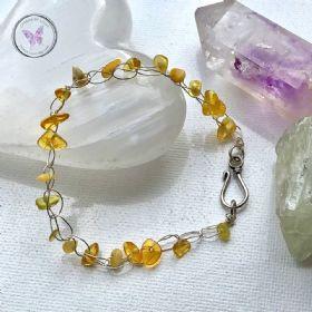 Baltic Amber Chip Silver Crochet Healing Bracelet